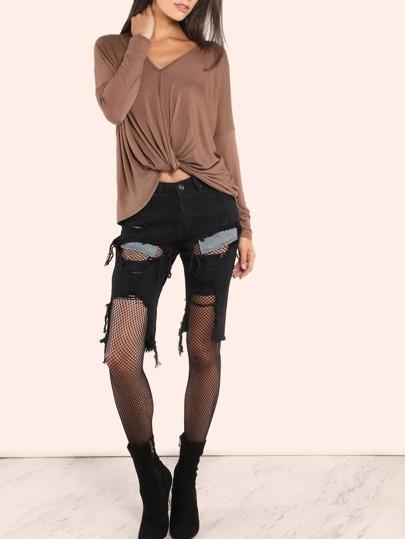Slashed Bermuda Knee Length Jeans BLACK