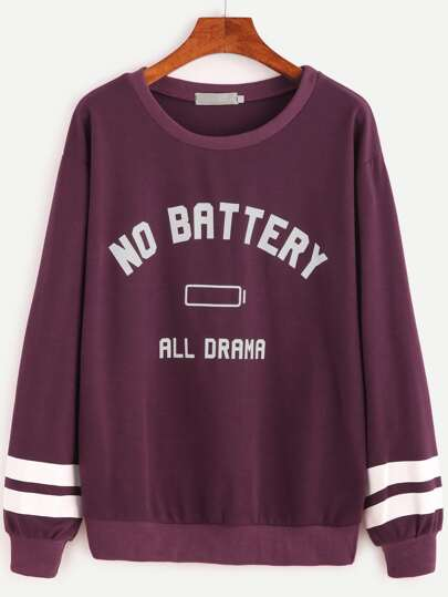 Purple Varsity Striped And Letter Print Sweatshirt