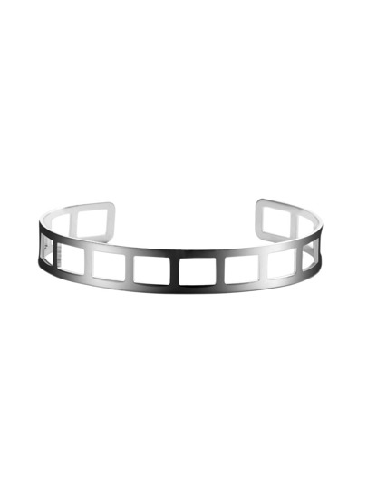 Silver Plated Geometric Hollow Out Wrap Bangle
