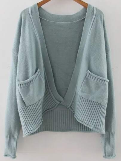 Blue Ribbed Trim Drop Shoulder Cardigan With Pockets