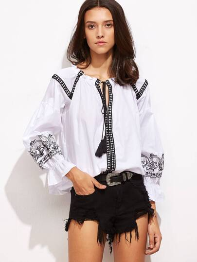 White Tie Neck Dotted Crochet Trim Embroidered Blouse