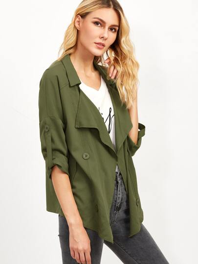 Olive Green Roll Sleeve Double Breasted Trench Coat