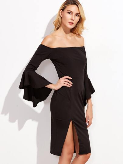 Black Off The Shoulder Bell Sleeve Slit Hem Dress
