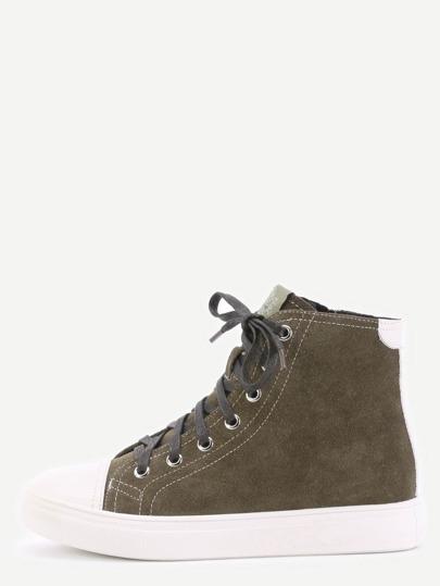 Chaussures plates en cuir véritable avez lavet - vert foncé