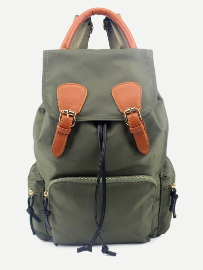 Green Drawstring Flap Nylon Backpack