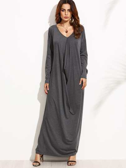 فستان رمادي كم طويل