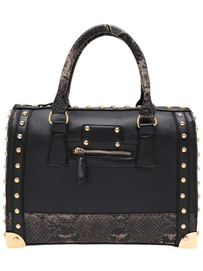 Black PU Snake Leather Embellished Studded Bowling Bag
