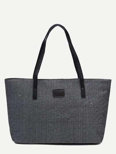 Black Zip Closure Linen Tote Bag