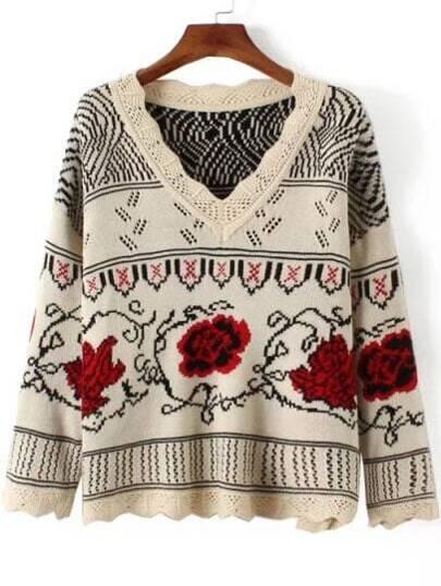 Beige Flower Pattern V Neck Sweater