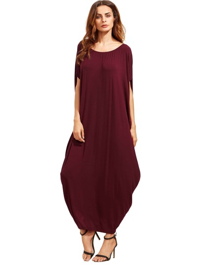 Burgundy Dolman Sleeve Maxi Dress