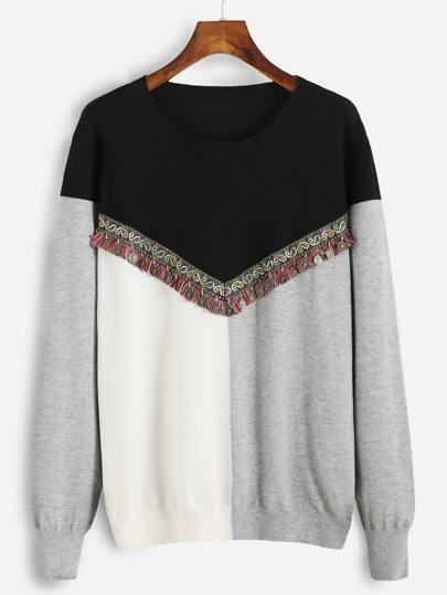 Color Block Pullover Sweater With Coin Fringe Detail