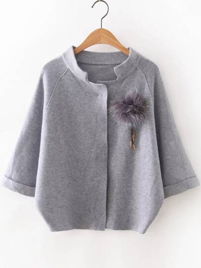 Grey Raglan Sleeve Sweater Coat With Brooch