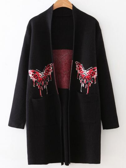 Black Butterfly Pattern Pocket Sweater Coat