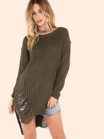Frayed Knit Sweater Tunic Top OLIVE