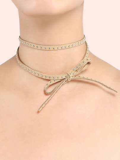 Studded Ribbon Bow Choker TAUPE