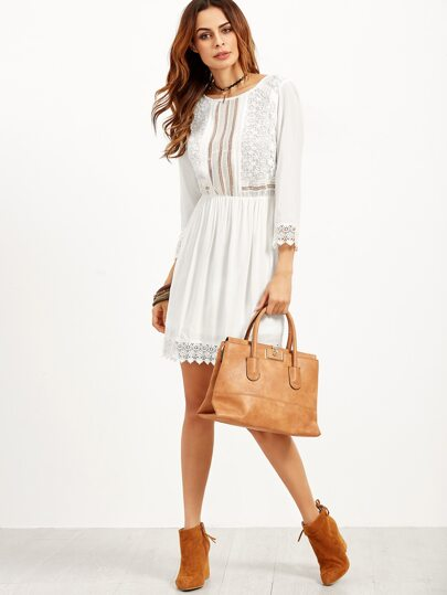 White Embroidered Lace Trim A Line Dress