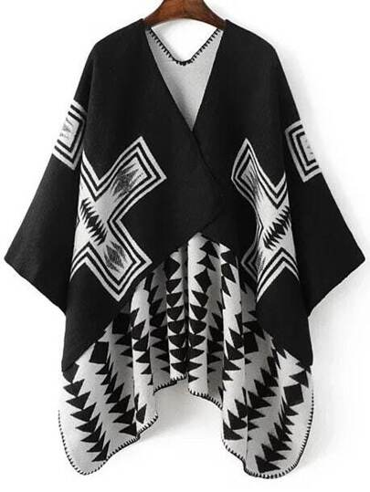 Black Geometric Pattern Asymmetrical Hem Cape Sweater