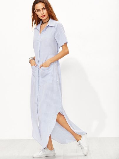 Vertical Striped Curved Hem Shirt Dress With Pockets