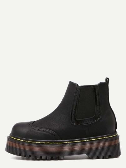 Black Wingtip Faux Leather Elastic Flatform Ankle Boots