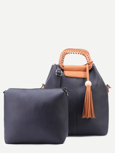 Black Faux Leather Tassel Trim Shoulder Bag Set