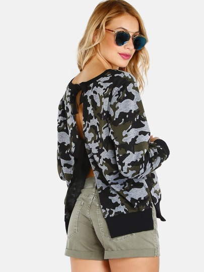 Backless Tie Camo Pullover CAMOUFLAGE