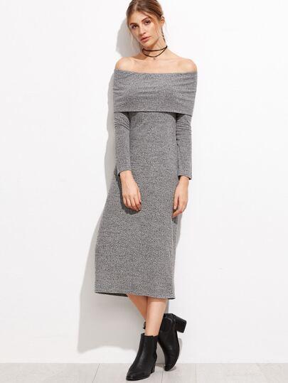 Heather Grey Foldover Off The Shoulder Ribbed Dress