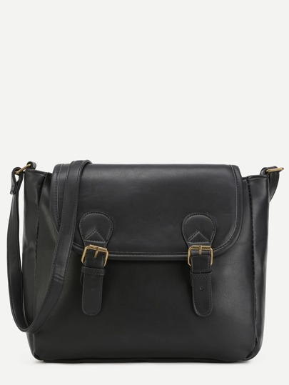 Black PU Double Buckle Flap Shoulder Bag