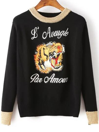 Black Tiger Embroidery Contrast Trim Sweater