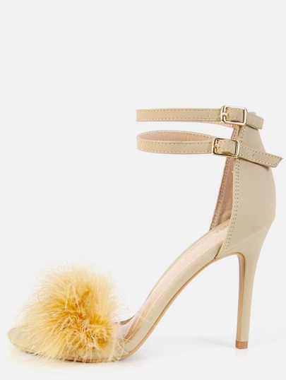 Single Sole Feather High Heels NUDE