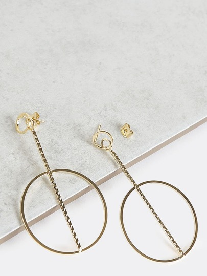 Metallic Bar Hoop Earrings GOLD