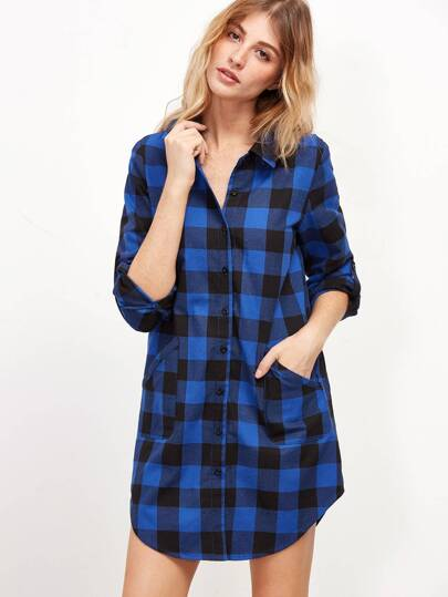 Blue Checkered Roll Sleeve Shirt Dress