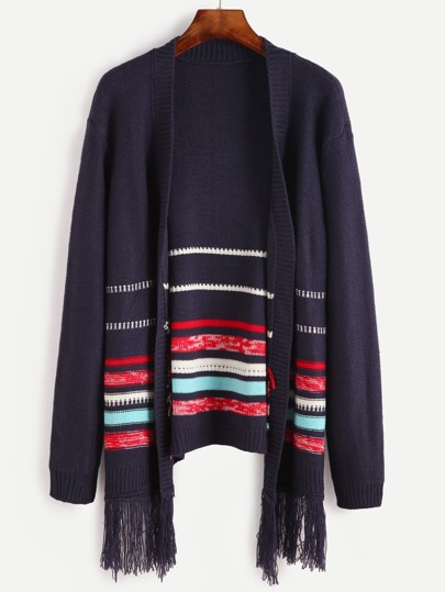 Blue Striped Pattern Fringe Trim Cardigan