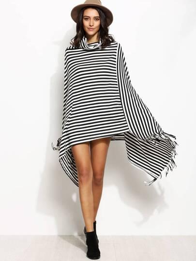 Contrast Striped Cowl Neck Fringe Asymmetric Cape Coat