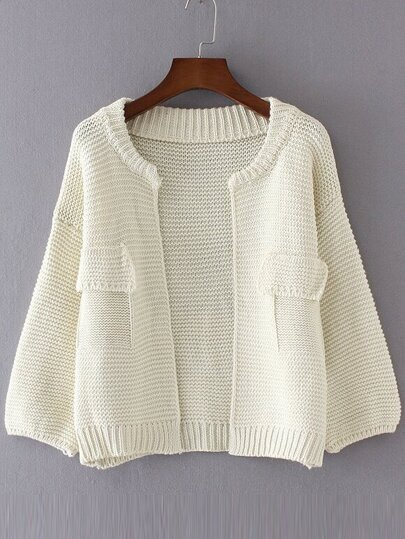 White Drop Shoulder Lantern Sleeve Pocket Cardigan