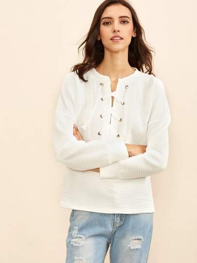 White Eyelet Lace Up Striped Embossed Sweatshirt