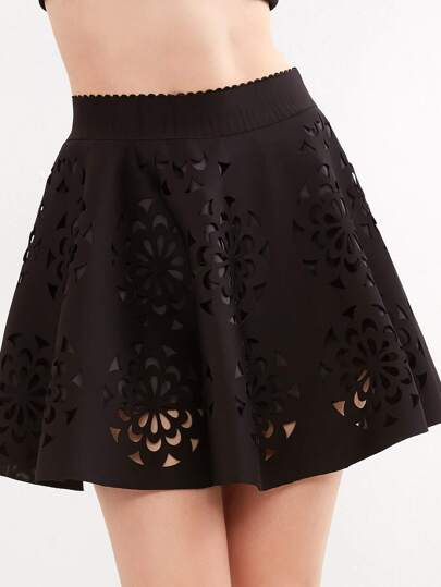 Black Scalloped Cut Out A-Line Skirt