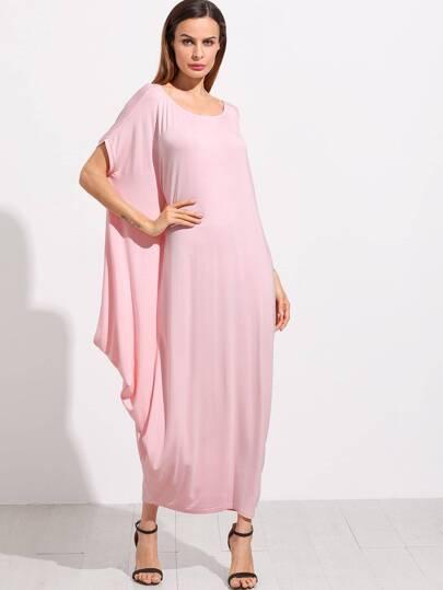 Pink One Shoulder Dolman Sleeve Maxi Dress
