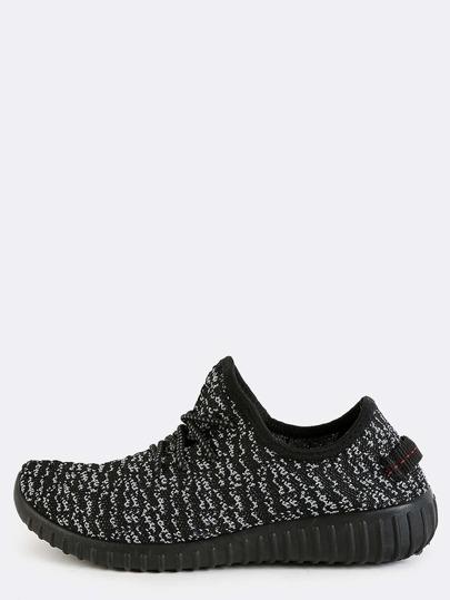 Heather Knit Sporty Sneakers BLACK