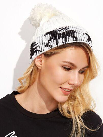 Bonnet tricoté avec pompon - noir et blanc