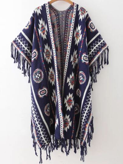 Navy Tribal Pattern Fringe Trim Poncho Sweater