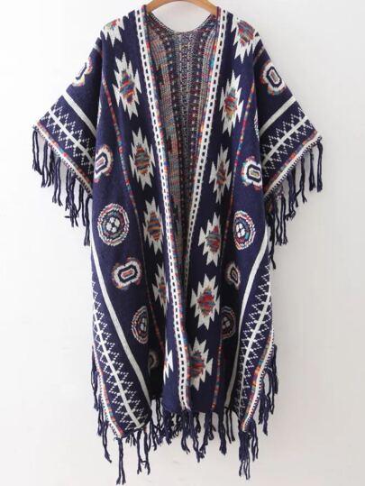 Pull poncho motif tribal avec frange - bleu marine
