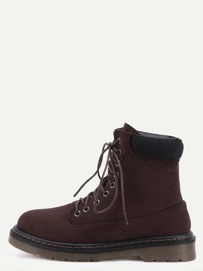 براون فو الجلد المدبوغ ربط الحذاء حتى المطاطية سوليد الأحذية مارتن