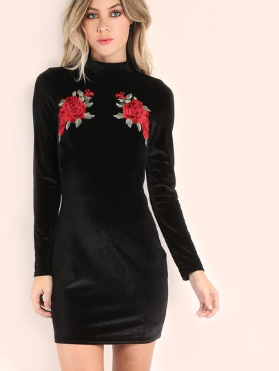 Vestito Bodycon Di Velluto Stampato Rose - Nero