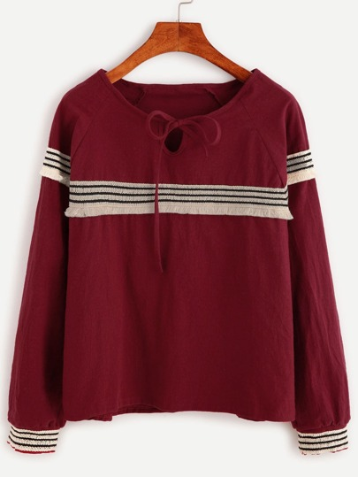 Burgundy Tie Neck Embroidered Tape Detail Blouse