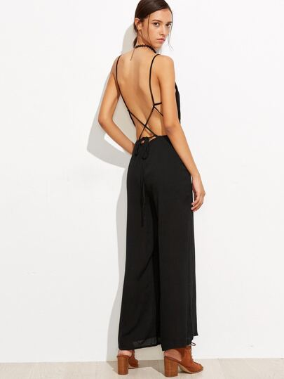 Black V Back Criss Cross Jumpsuit