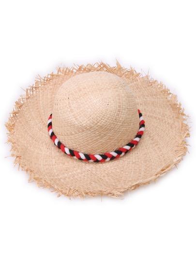 Braided Rope Pom Pom Embellished Raw Edge Straw Hat