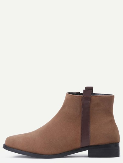 Dark Brown Faux Suede Side Zipper Ankle Boots