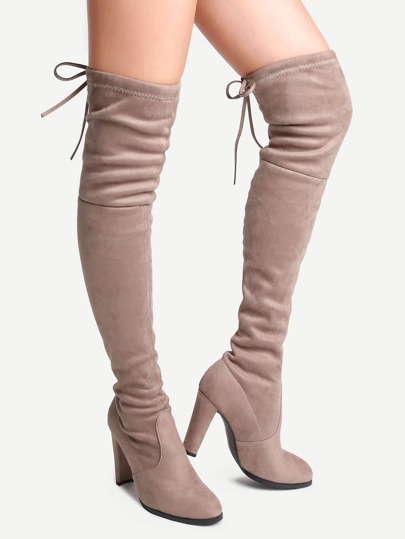 Apricot Suede Point Toe Lace Up Over The Knee Boots