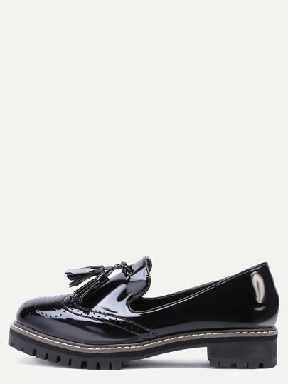 Chausseres à semelle compensé avec frange similicuir - noir