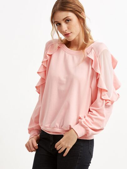 Sweat-shirt plain à volants - rose